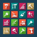 Flat construction and repair icons Stock Image