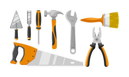 Flat construction tool equipment kit set. Construction equipment with flat design Royalty Free Stock Images