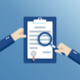Flat contract inspection. Hands of a businessman holding a contract  or agreement and examined it through a magnifying glass, flat vector design, business Stock Image