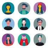 Flat Cool Avatars Set Royalty Free Stock Photos