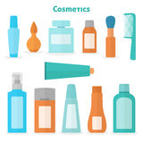 Flat cosmetic icons set Royalty Free Stock Photography