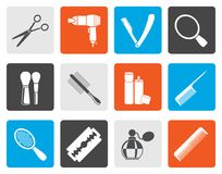 Flat cosmetic, make up and hairdressing icons royalty free illustration