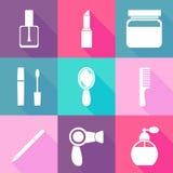 Flat cosmetics icons set. Make up elements symbols Stock Photos