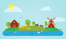 Flat Countryside Royalty Free Stock Image