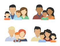 Flat couples. Flat four various couples  with children isolated on white Royalty Free Stock Images
