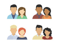 Flat couples Stock Images