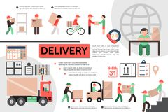 Flat Courier Service Template. With operator calendar checklist truck delivery of goods to customer vector illustration stock illustration