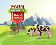 Flat cow field countryside building vector Natural Royalty Free Stock Image
