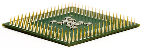 Flat CPU. Isolated modern CPU with it's pins up Royalty Free Stock Photography