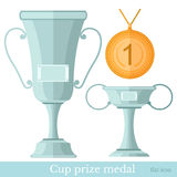 Flat cup prize medal isolated on white Royalty Free Stock Photo