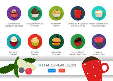 Flat cupcake icon. Vector application food set. Food icons. With ice cream. Chocolate cupcake. Blueberry muffin. In a mug. Carrot Stock Photo