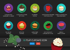Flat cupcake icon. Vector application food set. Food icons. With ice cream. Chocolate cupcake. Blueberry muffin. In a mug. Carrot Stock Image