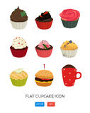 Flat cupcake icon. Vector application food set. Food icons. Poster with nine delicious desserts. Cute illustration for print, web Stock Photography
