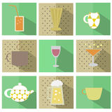 Flat cups icons set Royalty Free Stock Photography