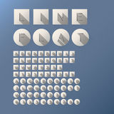 Flat Cut Line Font and Numbers. Eps 10 Vector, Editable for any Background, No Clipping Mask Royalty Free Stock Photo