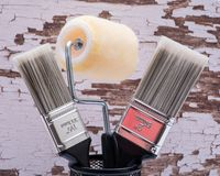 Flat Cut Utility Paint Brushes and High Density Knit Fabric Trim Roller with Frame  on wood. En background royalty free stock image