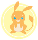 Flat cute jerboa. Flat illustration with a cute jerboa on yellow background Royalty Free Stock Image