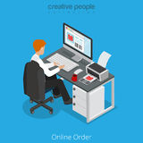 Flat 3d business isometric man order clothes websi Royalty Free Stock Image