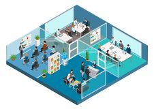 Flat 3d business isometric office interior vector. Flat isometric office interior vector illustration. 3d isometry business concept. Working business people Stock Photography