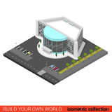 Flat  3d cinema entertainment mall night club building. Flat 3d isometric cinema entertainment mall disco night club building block infographic concept. Build Stock Photos