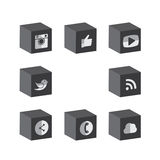 Flat 3d cube black & white button designs of camera, like, messe. Nger bird, phone receiver, website, share - social network vector icons. This also represents Stock Images