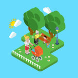 Flat 3d family parenting generations children kid people concept. Flat 3d family parenting generations children kids people concept. Mother in park pram buggy Royalty Free Stock Photography