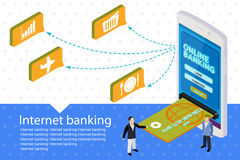 Flat 3d Internet banking vector banner. Modern mobile smartphone. With credit card. Isometric mobile online payment concept web infographics Royalty Free Stock Image