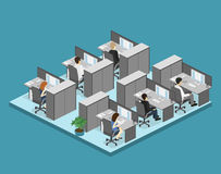 Flat 3d isometric abstract office floor interior departments concept . Illustration of office Stock Photos