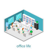 Flat 3d isometric abstract office floor interior departments concept .  Office life. Office workspace. People working in offices. Office room. Offices with Stock Photos