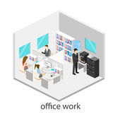 Flat 3d isometric abstract office floor interior departments concept .  Office life. Office workspace. People working in offices. Office room. Offices with Royalty Free Stock Photography