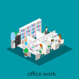 Flat 3d isometric abstract office floor interior departments concept .  Office life. Office workspace. People working in offices. Office room. Offices with Royalty Free Stock Image