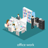 Flat 3d isometric abstract office floor interior departments concept .  Office life. Office workspace. People working in offices. Office room. Offices with Royalty Free Stock Photos