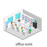 Flat 3d isometric abstract office floor interior departments concept . Office workspace. Flat 3d isometric abstract office floor interior departments concept Royalty Free Stock Photo