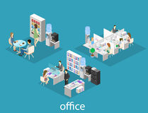 Flat 3d isometric abstract office floor interior departments concept . People working in offices. Stock Images