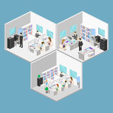 Flat 3d isometric abstract office floor interior departments concept . People working in offices. Royalty Free Stock Images