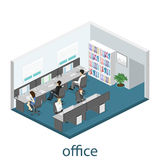 Flat 3d isometric abstract office floor interior departments concept . Interior of room Stock Images
