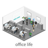 Flat 3d isometric abstract office floor interior departments concept . Interior of room Royalty Free Stock Photo