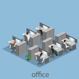 Flat 3d isometric abstract office floor interior departments concept . Interior of room Royalty Free Stock Photos