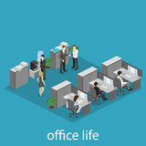 Flat 3d isometric abstract office floor interior departments concept . Interior of room Stock Image