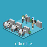Flat 3d isometric abstract office floor interior departments concept . Interior of room Royalty Free Stock Images