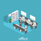 Flat 3d isometric abstract office floor interior departments concept . Interior of room Royalty Free Stock Image