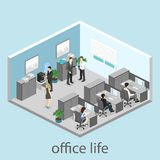 Flat 3d isometric abstract office floor interior departments concept . Interior of room Stock Photos