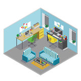 Flat 3d isometric abstract office floor interior departments concept vector. Office workspace. Office room stock illustration