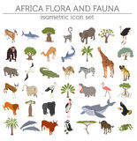 Flat 3d isometric Africa flora and fauna map constructor element. S. Animals, birds and sea life  on white big set. Build your own geography infographics Stock Photo