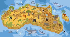 Flat 3d isometric Africa flora and fauna map constructor element. S. Animals, birds and sea life isolated on white big set. Build your own geography infographics royalty free illustration