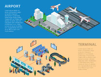 Flat 3d isometric airport terminal infographics ve. Flat isometric airport, flying and landing planes; terminal waiting hall, passport control, baggage line Royalty Free Stock Photos
