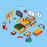 Flat 3d isometric of basic education training and studying online. Modern flat concept pictogram, set isometry icons for graphic and web designers Stock Images