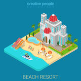 Flat 3d isometric beach hotel vacation resort sea island suntan. Flat 3d isometric creative beach hotel web infographics travel vacation concept. Luxury class Royalty Free Stock Photography
