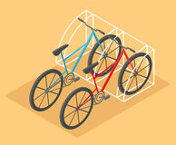 Flat 3d isometric bicycle for city map transportation constructo. R isolated on white. Build your own infographic collection. Vector illustration Stock Photography