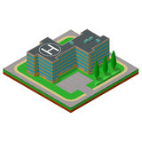 Flat 3d isometric building with a helipad and a parking place.  Royalty Free Stock Photos